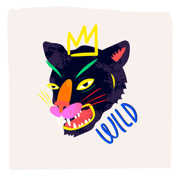Abstract neon wild panther with crown. Hand drawn trendy illustration. Colorful logo. Perfect for textile print