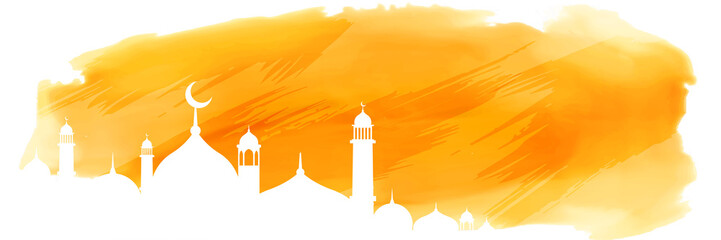 yellow watercolor islamic banner with mosque design