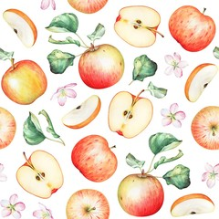 Seamless pattern with watercolor apples on white background