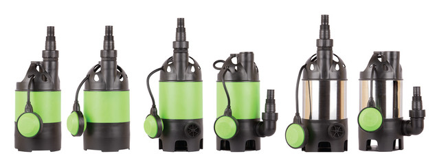 Set of automatic drainage pumps with float for pumping water from flooded rooms, bore holes, basements. Isolated white background. Application in private homes, country house, village, cottage.