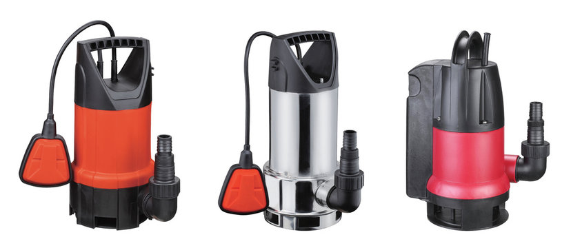 Set automatic drainage pumps with float pumping water from flooded rooms, holes, bore holes, basements. Isolated on white background. Set of 3. Application houses, country house, village, cottage.