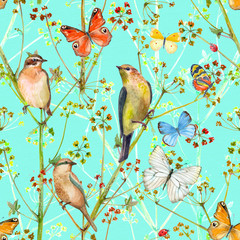 colorful nature seamless texture with birds and butterflies. watercolor painting