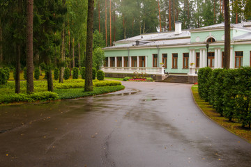 Cottage of Joseph Stalin in Valdai on a summer rainy day