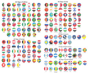 All official national flags of the world button round design Vector