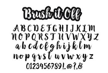 Artistic brush script alphabet