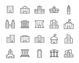 Obraz set of building icons, such as city, apartment, condominium, town - fototapety do salonu