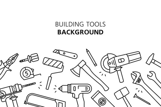 Building tools background. isolated on white background