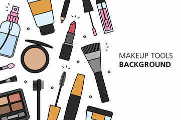 Makeup tools background. isolated on white background