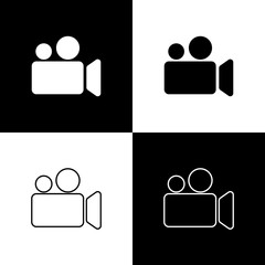 Set Movie or Video camera icons isolated on black and white background. Cinema camera icon. Line, outline and linear icon. Vector Illustration