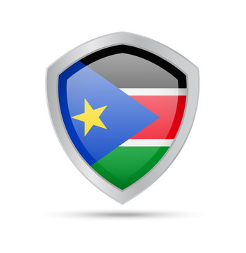 Shield with South Sudan flag on white background.