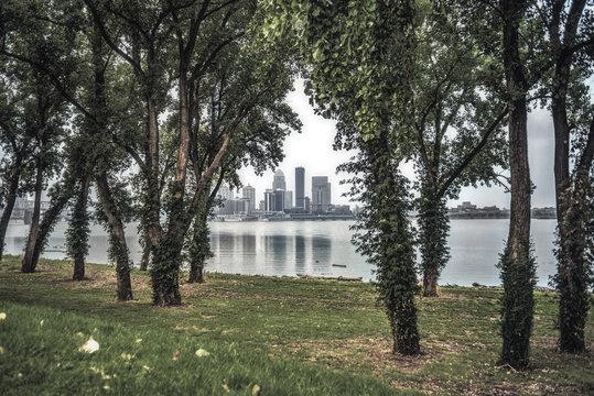 Louisville, Kentucky through trees