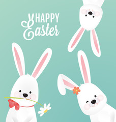 Happy Easter Vector Design with Cute Rabbit Characters