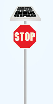Traffic sign stop with solar panel and flashing lights. vector