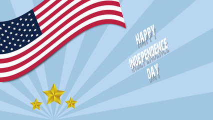 happy Independenc day of USA logo in Flag emblem with golden star round