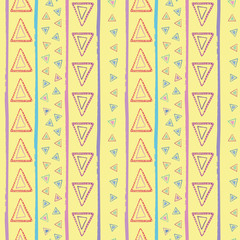 Hand drawn tribal red, blue, yellow, purple triangles and irregular stripes. Vector seamless pattern on yellow background. Great for wellness, products, fabric, packaging, stationery, home decor