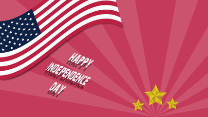 happy Independenc day of USA logo in Flag emblem with golden star
