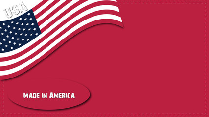USA background with American flag in red background
