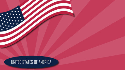 USA background with American flag in red ray background