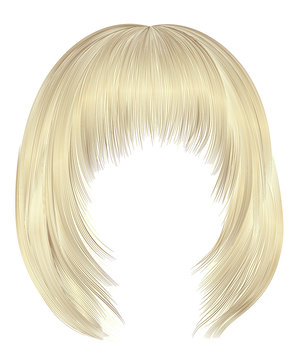 trendy  woman  hairs bob kare with fringe  . light  blond  colors . medium length . beauty style . realistic  3d .