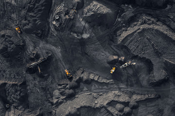 Open pit mine, extractive industry for coal, top view aerial drone Fototapete