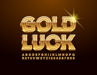 Fototapeta Vector card Gold Luck with luxury Uppercase Font. ELegant 3D Alphabet Letters and Numbers