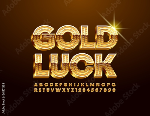 Vector card Gold Luck with luxury Uppercase Font  ELegant 3D