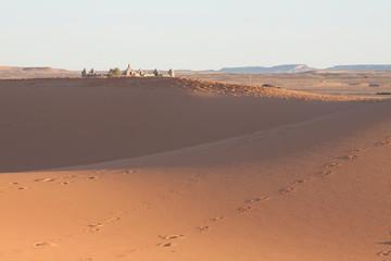 Photo sur Aluminium Rouge traffic Morocco, Merzouga, Erg Chebbi Dunes at Sunrise