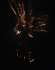 Art firework woman head with long hair from December 31, 2013, Germany