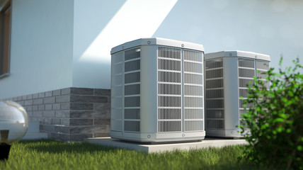 Air heat pumps beside house, 3D illustration