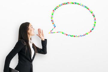 Creative hand gesture speech bubble