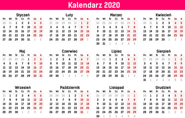 Fototapeta Prosty szablon kalendarza na rok 2020 i 2021. Ilustracja wektorowa płaski kolor stylu. Roczny szablon kalendarza. Orientacja pionowa. Zestaw 12 miesięcy.