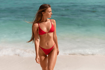 Beautiful sexy girl in a red bikini on the ocean