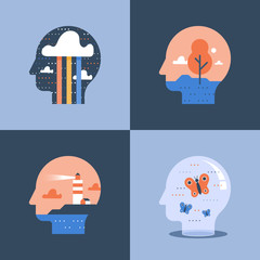 Creative and positive thinking concept, lighthouse inside head, psychology or psychiatry
