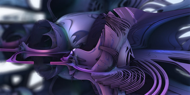 Abstract artwork - 3d illustration, purple oranic geometric shapes. Recursive curves, square shapes arranged into a mosaic of geometry. Smooth reflective surface, graphic resource. fractal artwork