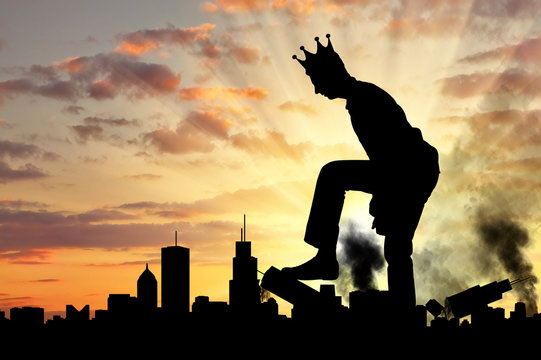 Big selfish man with a crown destroys the city on his way