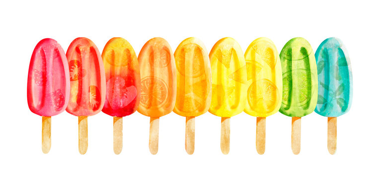 Watercolor line of bright popsicles with fruits isolated on white
