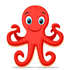 Octopus stands on two tentacles on a white. Character.