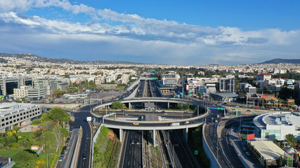 Aerial drone photo of multilevel highway junction urban ring crossing road during rush hour