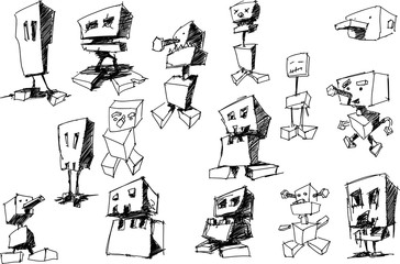 many hand drawn sketches and drawings of funny cartoon robots and androids