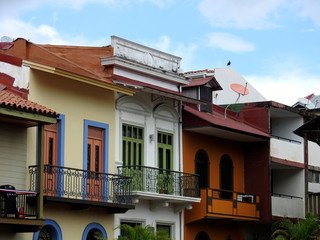 Casco Viejo / Panama - November 9 2018: Old houses in Casco Viejo in Panam City