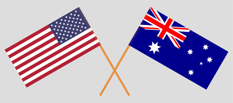 Australia and USA. The Australian and United States of America flags. Official colors. Correct proportion. Vector