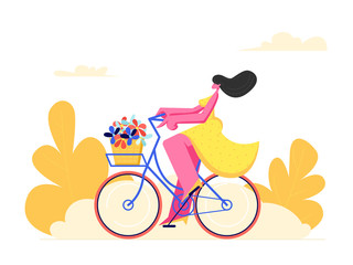Young Woman Character Riding Bicycle with Flowers in Front Basket on Park Background. Active Girl Enjoying Bike Ride Open Air. Healthy Lifestyle, Eco Transportation. Cartoon Flat Vector Illustration