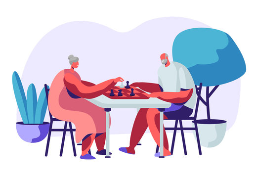 Relaxing Senior Man and Woman Playing Chess in Nursing Home. Couple of Cheerful Pensioners Spending Time at Intellectual Game, Retired People Leisure and Sparetime. Cartoon Flat Vector Illustration