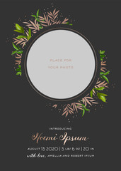 Newborn Child Greeting Card with Floral Elements. Baby Shower Template Photo Frame with Flowers. Wedding Invitation Save the Date Card with Wreath, Leaves. Vector illustration