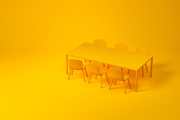 Yellow dining room furniture set on yellow