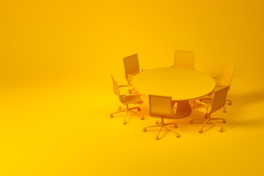 Set of yellow conference room furniture on yellow