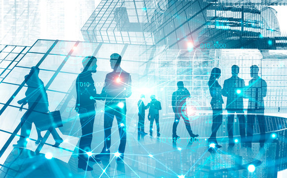 Business people in modern city, digital connection