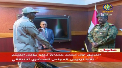 Sudan's General Abdelfattah Mohamed Hamdan Dagalo is sworn-in as the appointed deputy of the country's transitional military council in Khartoum
