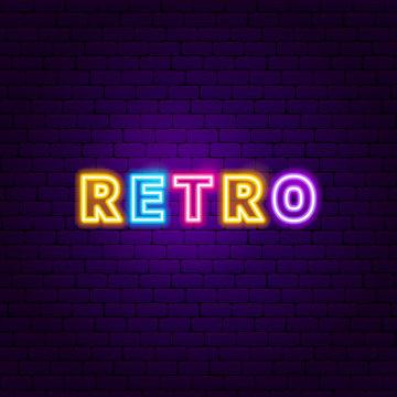 Retro Text Neon Label
