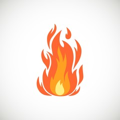 Vector cartoon flat icon of flame. Burning bonfire and campfire simple illustration isolated on white background for web, print, decoration, bonfire night.